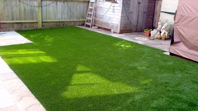 Artificial grass laid in a customers garden