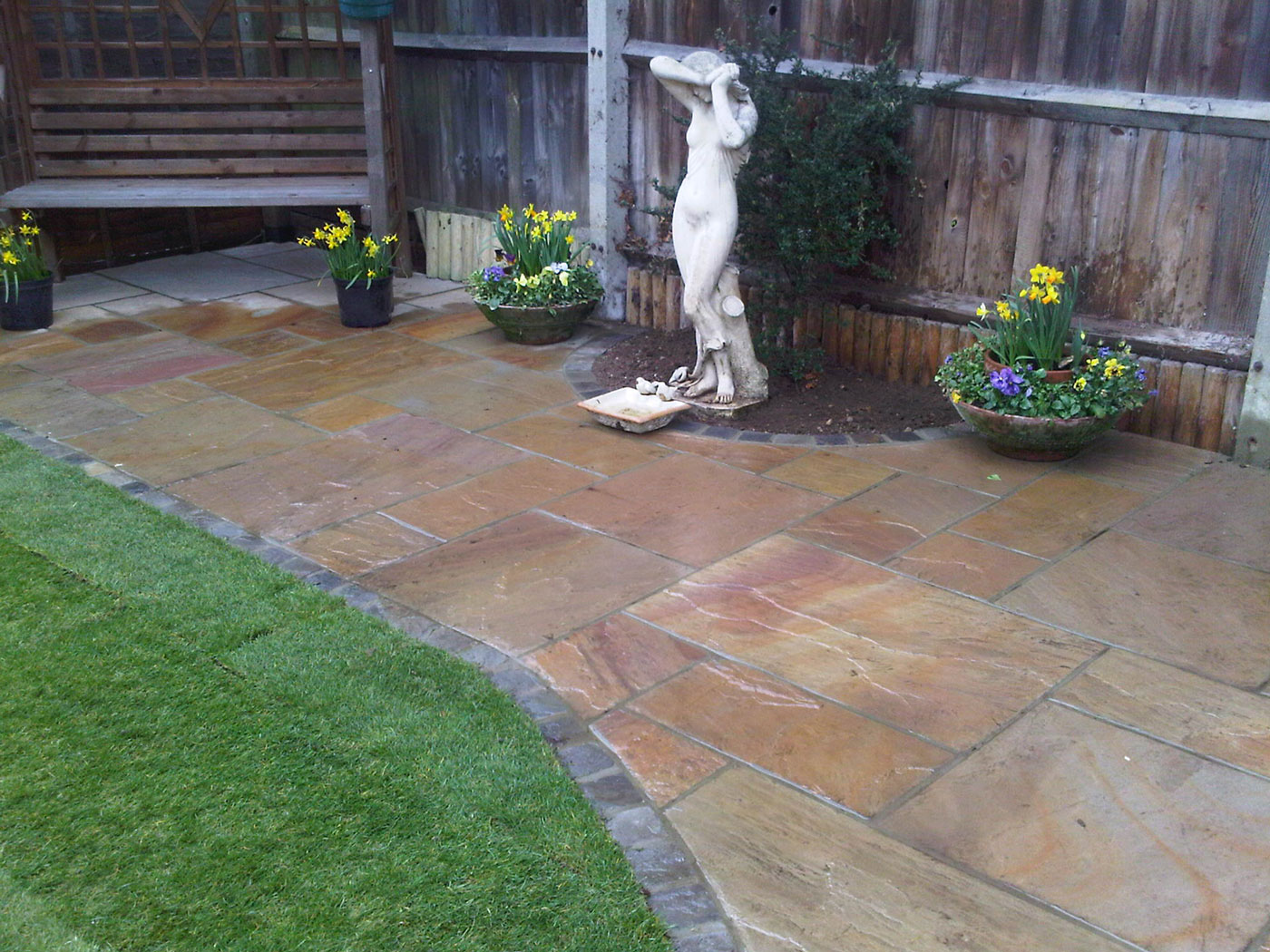 Paving in a garden area